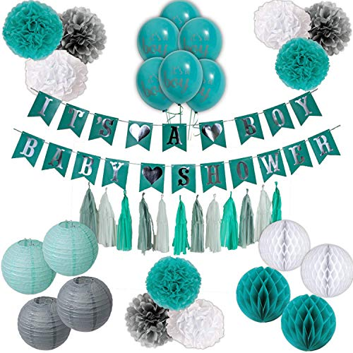 Teal and Grey Baby Shower Decorations for Boy, Easy Set up Flower pom poms, It's a Boy Banners, Balloons, Honey Comb Balls, Lanterns in Teal/Grey/Silver/White Party Unique Baby Shower Set!! -