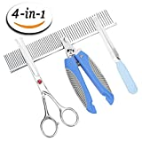 Coodeo Dog Grooming Scissors & Nail Trimmer Kit for Large Dogs & Small Dogs & Cats, Pet Round Tip Top Safety Scissors with Combs & Nail Clippers with Nail File Home Set