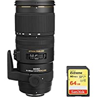 Sigma 70-200mm f/2.8 APO EX DG HSM OS FLD Lens for Nikon DSLR Cameras includes Bonus Sandisk 64GB Memory Card