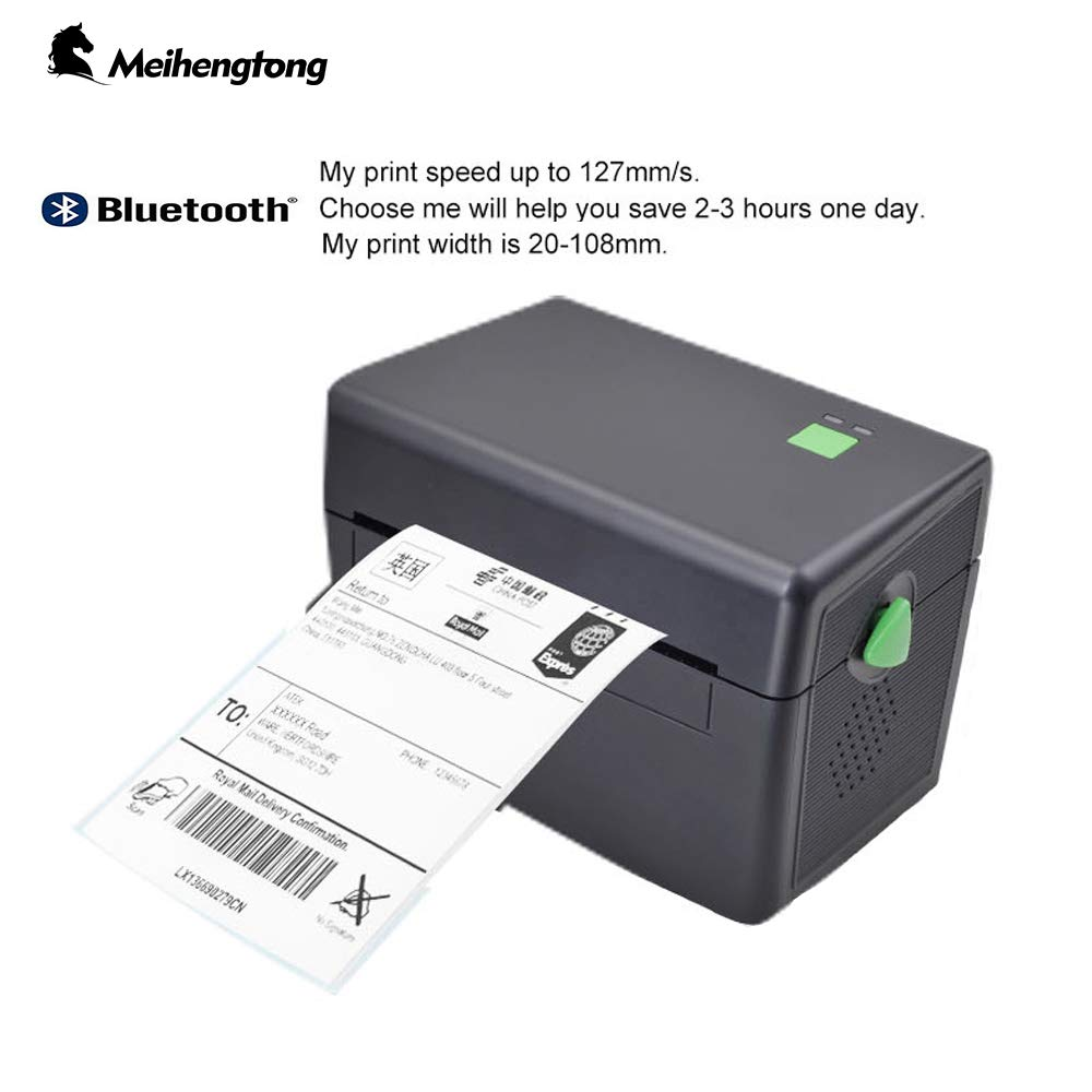 Label Printer, Meihengtong Dirct Thermal Printer Bluetooth & USB Label Maker for Barcodes Compatible with Android/Windows/Desktop, DT108-BT (Bluetooth/USB) by Meihengtong