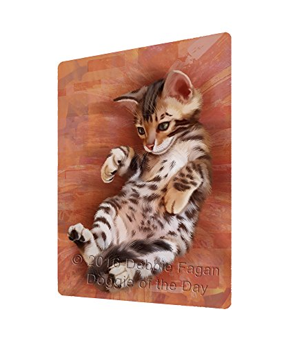 Bengal Cat Art Portrait Print Woven Throw Sherpa Plush Fleece Blanket (54x38 Tapestry)