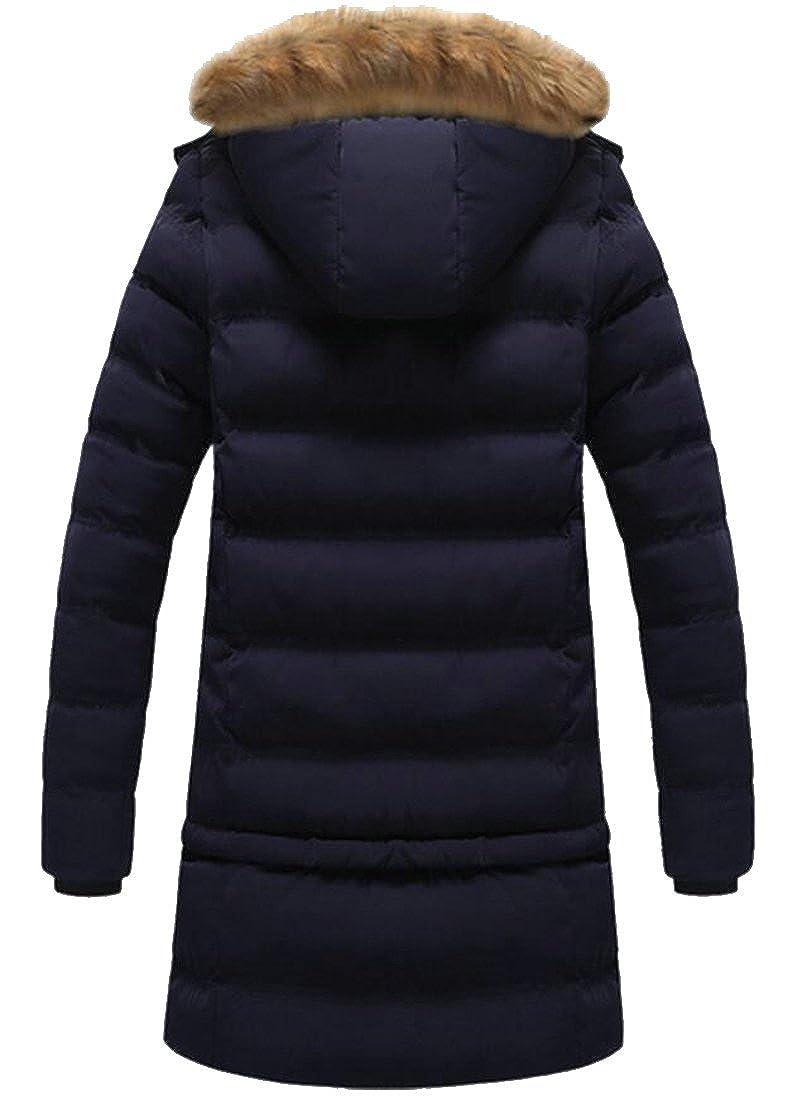 Spirio Men Quilted Padded Faux Fur Hood Winter Warm Down Coat Jacket