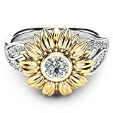 Daisy Sunflower Flora Wedding Band Promise Ring Bridal Jewelry Party Wear