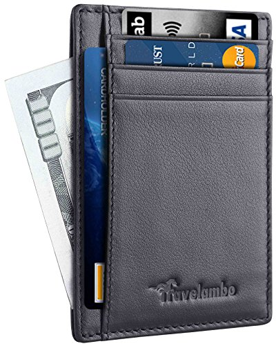 Travelambo Front Pocket Minimalist Leather Slim Wallet RFID Blocking Medium Size(05 napa black)