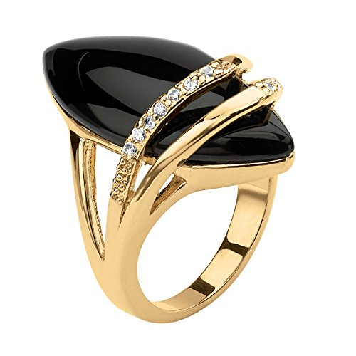Palm Beach Jewelry 18K Yellow Gold-Plated Marquise Shaped Natural Black Onyx and Round Cubic Zirconia Ring Size 6