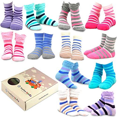 TeeHee Kids Girls Cotton Fashion Fun Crew Socks 12 Pair Pack (6-8 Years, Tonal Stripe & Ruffle Top)