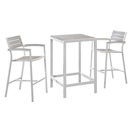 Amazon Com Modway Maine 3 Piece Aluminum Outdoor Patio Pub Bistro
