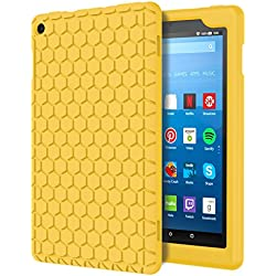 MoKo Case for All-New Amazon Fire HD 8 Tablet (7th Generation, 2017 Release Only) - [Honey Comb Series] Light Weight Shock Proof Soft Silicone Back Cover [Kids Friendly] for Fire HD 8, YELLOW