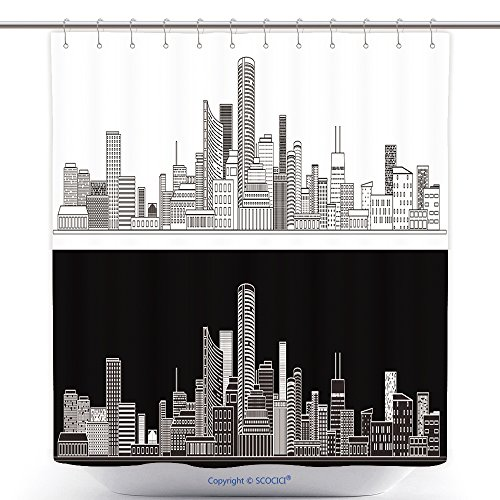 Custom Shower Curtains Horizontal City Scape With Buildings With Little Windows On Black And White Backgrounds City Scape 561112000 Polyester Bathroom Shower Curtain Set With Hooks (City Scape Backdrop)