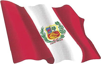 Amazon.es: Artimagen Pegatina Bandera Ondeante Perú pequeña 65x50 mm.