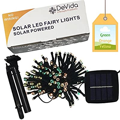 DeVida Halloween, Thanksgiving, Fall Wedding Decorations Solar String Lights ~ No Outlet Needed ~ Extra Long 100 Mini LED Set ~ Outdoor Waterproof Multi Colored Harvest Decor (Orange Yellow Green)