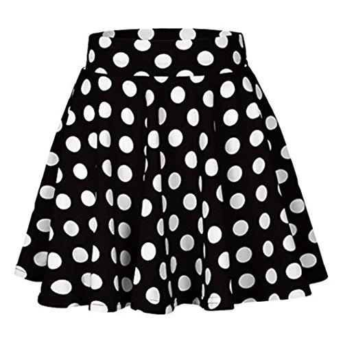 Mini Skirts for Juniors Ankola Women's Vintage A-line Dot Printed Pleated Flared Midi Skirts High Waist Midi Skirt