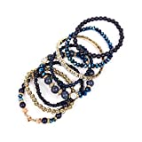 MYS Collection Women's Multilayer Beaded Stretch Bracelets - Multi Strand Colorful Beads Statement Wrap Bangles (Navy)