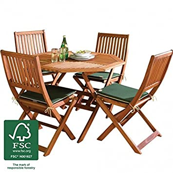 Fantastic Wooden Garden Furniture Set 4 Seat Folding Patio Table Chairs Ideal For Outdoor Living And Dining Hardwood Fsc Approved Eucalyptus Wood Download Free Architecture Designs Sospemadebymaigaardcom