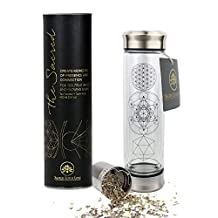 Tea Tumbler & Travel Flask with Stainless Steel Strainer Infuser for Tea, Coffee & Fruit Infusions. Double Wall Glass. Soulful Design. Beautifully Packaged + Gift Ready. Eco-Friendly, Healthy Bottle.