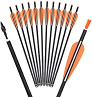 16 18 20 Inch Carbon Crossbow Bolts Bio Archery with 4 Inch Vanes(Pack of 12)