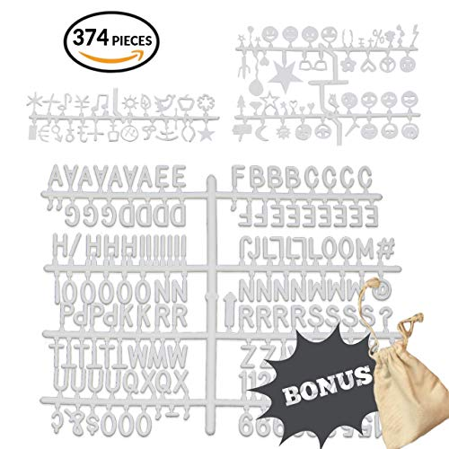 374 Piece Extra Letter Set for Letter Board- 3/4 inch Plastic Letter Set for Felt Board- White Replacement Letters- Numbers, Symbols and 70 Emoticons Included - Bonus Letter Bag