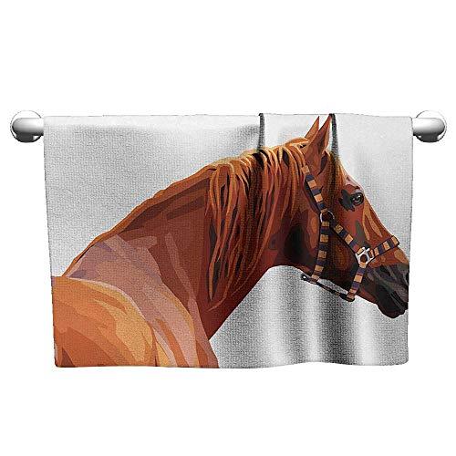 Bensonsve Hand Towel Animal,Race Jokey Horse Pure Noble Animal Ride Hobby Nature Vehicle Artwork Paint,White and Cinnamon,Hanging Towel Rack for Bathroom