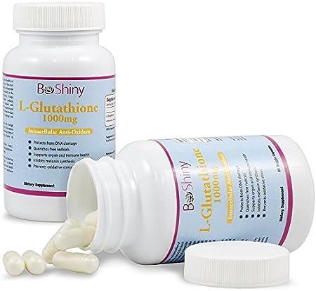 L-glutatión Píldoras blanqueadoras para la piel 1000 mg Antienvejecimiento Reducir las manchas oscuras Desintoxicación saludable Aminoácidos potentes para la piel del cerebro Sistema inmunitario