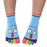 FimKaul Socks,Lady Womens Girls Cartoon Five Fingers Trainer Toe Ankle Fashion Sport Socks (Blue)