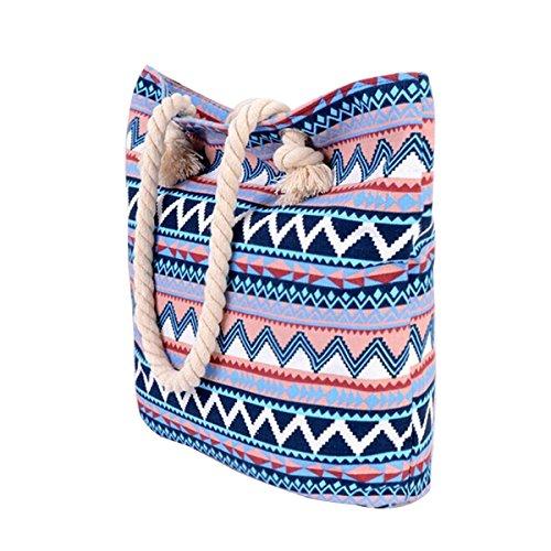 tela cremallera hombro cierre mujeres de playero a de rayas Blue mano para Millya 119 Bolso al wnOTA4qx18