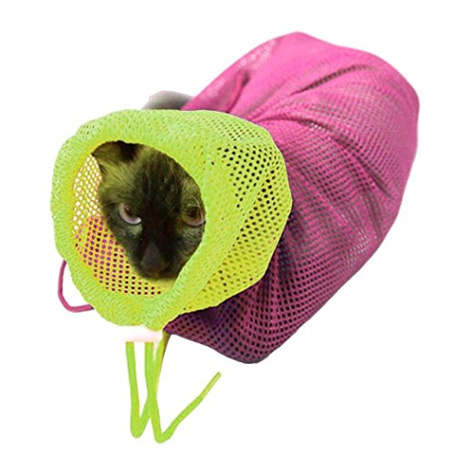 BBEART Soft Polyester Mesh Adjustable Pet Cat Groomers Bathing Bag Grooming Scratching Restraint Breathable Nail Cutting Bag Biting Resisted for Bathing Injecting Examining Nail Trimming (Pink)