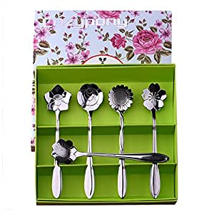 Teaspoons,Cozypony Elegance Teapot Tea Spoon Demi Spoon Espresso Spoon set 5PCS Flowers spoon with a gift box