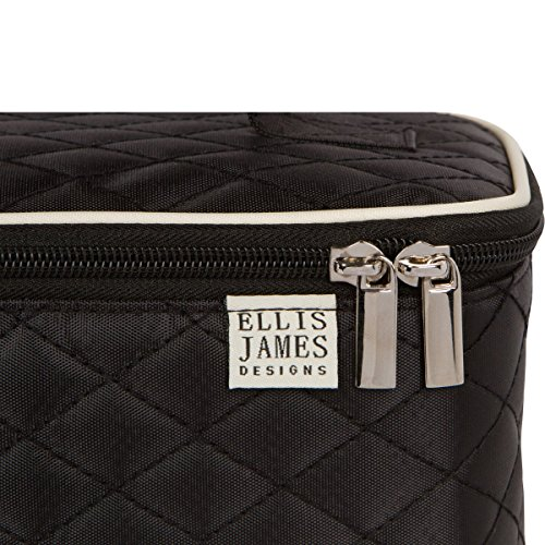 Ellis James Designs Large Travel Makeup Bag Organizer - Cosmetic Train Case Toiletry Bags for Women - Black - With Handle & Make Up Brush Holders - Professional Hair Dryer Cases & Beauty Storage by Ellis James Designs (Image #7)