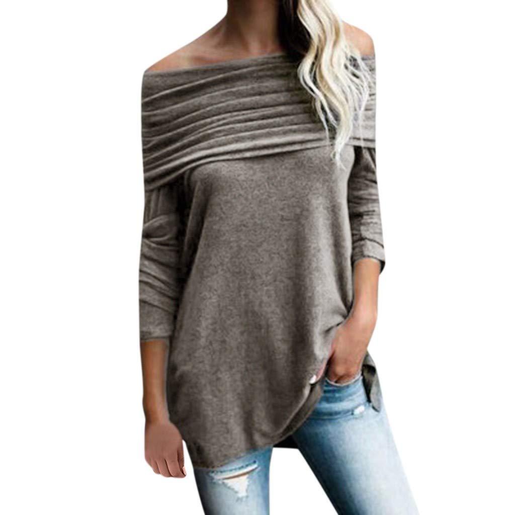 Exteren Women Splicing Solid Sweatshirt Long Sleeve Tops Blouse Casual Hooded Blouses Gray