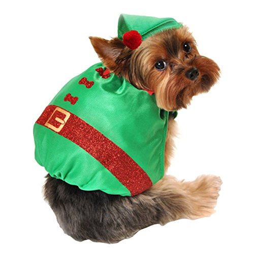 [Simply Dog Costume Silky Green Glitter Elf Christmas Pet Outfit with Hat XS/S] (Elf Dog Outfit)