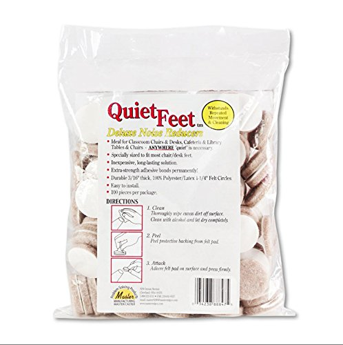 K&A Company Chair and Desk Noise Reducer Quiet Feet Deluxe Circular Biege - 100 Per Pack by K&A Company