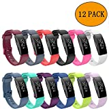 aczer-Y Fitbit Inspire HR Sport Band Accessories Watchbands, 12 Color Classic Replacement TPU Watch Band with Stainless Buckle for Fitbit Inspire HR Smartwatch Large