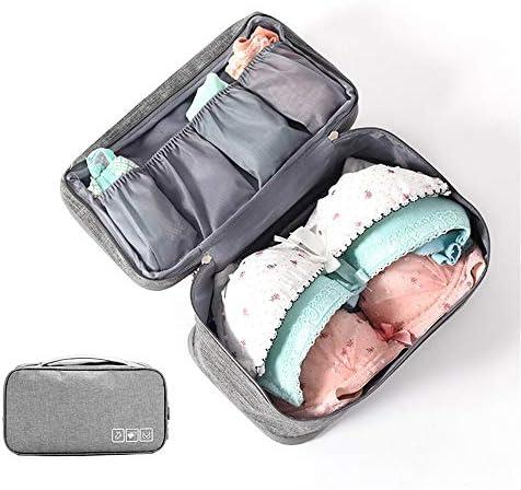 旅行用収納袋 ブラジャー収納袋多機能パッキングキューブ旅行オーガナイザー防水旅行アクセサリー荷物オーガナイザー ハンドロールアップ再利用可能な服 (色 : 青, Size : Free size)