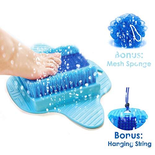 Foot Scrubber   Foot Brush Bristles Deep Clean   Massage   Exfoliate & Stimulate Feet   Foot Spa Brush   Free String & Body Mesh Sponge   Premium Quality   Update 2019 Model  