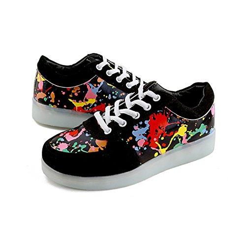 Colors Print Men Sabe Shoes LED Sneakers Print and Charging USB Women 7 Luminous 7qfqw5A