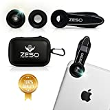 phone Lens 3 In 1 Camera Lens Kit by Zeso | Professional 230° Fisheye, Macro & Wide Angle Phone Lenses | For iPhone, Samsung Galaxy, Android, iPads, Tablets | Hard Storage Case & Universal Phone Clip