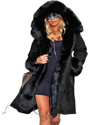2577ddb2b7 Aofur Manteau Femme Chaud Parka Hiver Fourrure avec Capuche Militaire Style  Manteaux d'hiver Parka