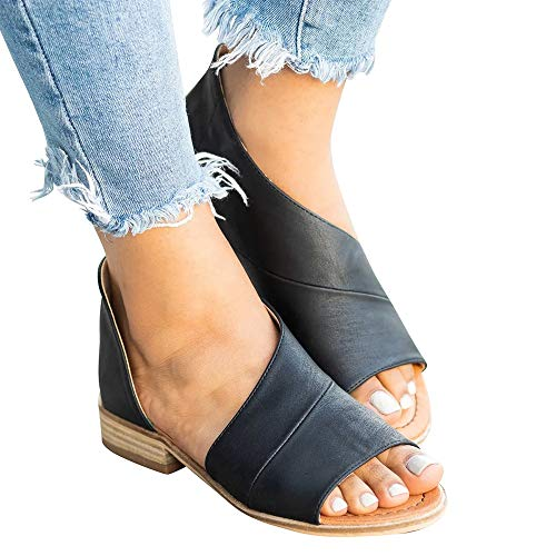 (SNIDEL Womens Faux Leather Sandal Open Toe Flats Sip on Summer Casual Low Heels Shoes Black1 9 B (M) US)