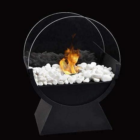 JHY DESIGN 32cm Biochimenea de sobremesa Hoguera Chimenea de mesa de Bioetanol Port/átil para Interiores y Exteriores-fogata port/átil para chimenea en color negro de combusti/ón realista