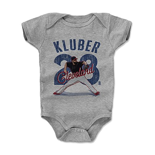 500 LEVEL Corey Kluber Baby Clothes, Onesie, Creeper, Bodysuit 3-6 Months Heather Gray - Cleveland Baseball Baby Clothes - Corey Kluber Arch (Cleveland Indians Arch)