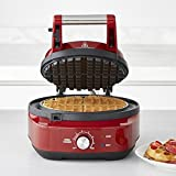 Breville the No-Mess Classic Round Waffle Maker, Cranberry Red, BWM520CRN