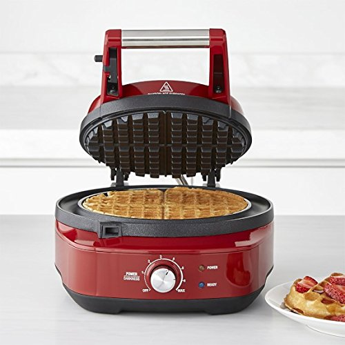 Breville the No-Mess Classic Round Waffle Maker, Cranberry Red, BWM520CRN by Breville