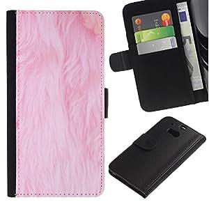 LASTONE PHONE CASE / Lujo Billetera de Cuero Caso del tirón Titular de la tarjeta Flip Carcasa Funda para HTC One M8 / pink fur white pet cat clean carpet