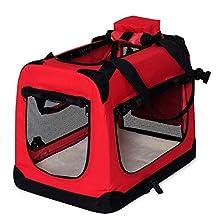 dibea Transportín para Perros Bolsa transportín para Perros Transportín Plegable Autobox Bolsa para Animales pequeños (70x52x50 cm (L), Rojo)