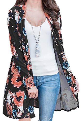 (Winter Womens Cardigans Peony Print Long Sleeves Coverup Blouse M)