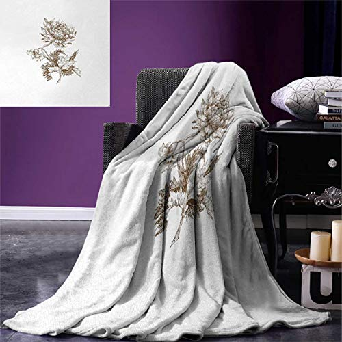 - Anniutwo Dahlia Super Soft Blanket Old Style Freehand Drawing a Single Colossal Dahlia Blossom Petals Leaves Oversized Travel Throw Cover Blanket 90