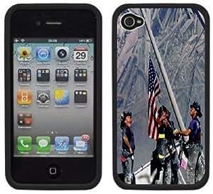 9-11 September 11th Firefighters Handmade iPhone 4 4S Black Hard Plastic Case
