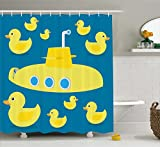 Rubber Duck Shower Curtain Set by Ambesonne, Duckies Swimming in the Sea with a Yellow Submarine Kids Party Pattern Nautical Print, Fabric Bathroom Decor with Hooks, 70 Inches, Yellow