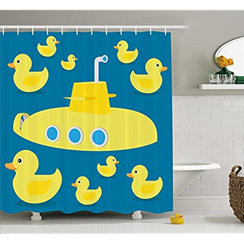 Rubber Duck Shower Curtain Set By Ambesonne, Duckies Swimming In The Sea  With A Yellow Submarine Kids Party Pattern Nautical Print, Fabric Bathroom  Decor ...