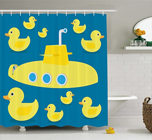 Ambesonne Rubber Duck Shower Curtain Set, Duckies Swimming in The Sea with a Yellow Submarine Kids Party Pattern Nautical Print, Fabric Bathroom Decor with Hooks, 70 inches, Yellow